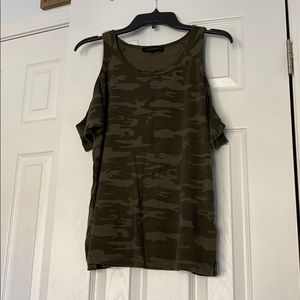 Army green camo off the shoulder top size small
